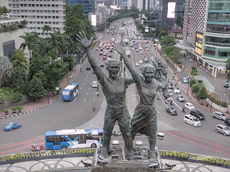 Close up on the statues in Welcome Monument, Bundaran HI.